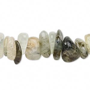 "Bead, prehnite (natural), extra-large chip, Mohs hardness 6 to 6-1/2. Sold per 15"" to 16"" strand."