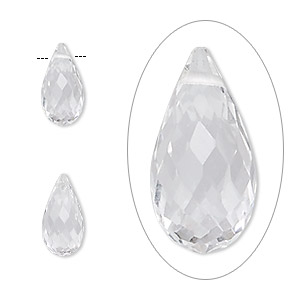 Bead, quartz crystal (natural), 12x6mm hand-cut top-drilled faceted briolette, B grade, Mohs hardness 7. Sold per pkg of 2.