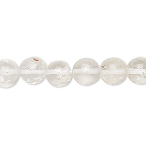 Bead, quartz crystal (natural), 7-9mm hand-cut round, C- grade, Mohs hardness 7. Sold per 13-inch strand.