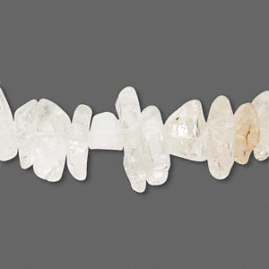 "Bead, quartz crystal (natural), large chip, Mohs hardness 7. Sold per 15"" to 16"" strand."