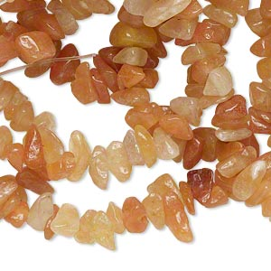 Bead, red aventurine (natural), medium chip, Mohs hardness 7. Sold per 34-inch strand.