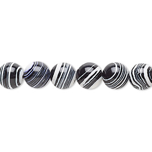 Bead, resin, black and white, 8mm round. Sold per 16-inch strand.