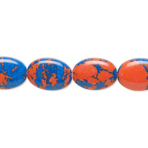 Bead, resin, dark blue and orange, 14x10mm flat oval. Sold per 16-inch strand.
