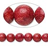Bead, sponge coral (dyed), red, 8-9mm round, C grade, Mohs hardness 3-1/2 to 4. Sold per 15-inch strand.