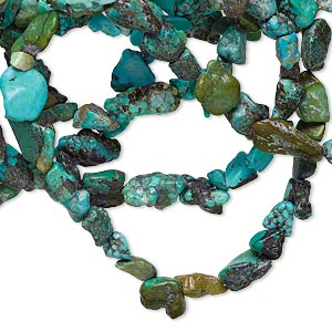 Bead, turquoise (dyed / stabilized), blue-green, small to medium pebble, Mohs hardness 5 to 6. Sold per 34-inch strand.
