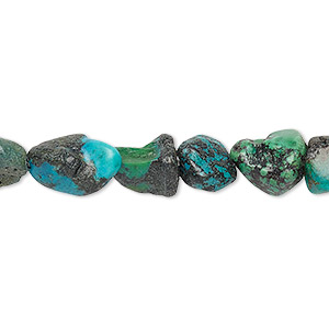 Bead, turquoise (dyed / stabilized), blue, mini to medium hand-cut nugget, Mohs hardness 5 to 6. Sold per 15-inch strand.