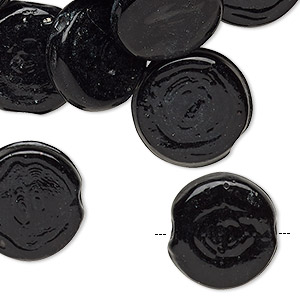 Bead, vintage India glass, opaque black, 16-18mm flat round. Sold per pkg of 24.
