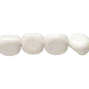 Bead, white and grey feldspar (natural), large pebble, Mohs hardness 6 to 6-1/2. Sold per 15-inch strand.