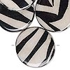 Bead, wood / cotton / acrylic, black and cream, 30mm double-sided flat round with zebra stripe pattern. Sold per pkg of 8.