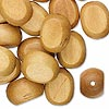 Bead, wood (dyed), brown, 25x20mm hand-cut flat oval. Sold per pkg of 25.