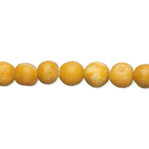 "Bead, yellow marble (natural), matte finish, 6-7mm round, C- grade, Mohs hardness 3. Sold per 15"" to 16"" strand."