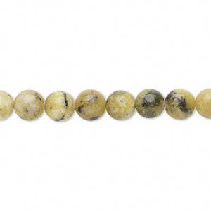 "Bead, yellow ""turquoise"" (natural), 6mm round, D grade, Mohs hardness 2-1/2 to 6. Sold per 15"" to 16"" strand."
