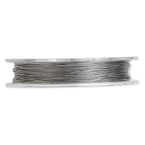 Beading wire, Tigertail™, nylon-coated stainless steel, clear, 3 strand, 0.012-inch diameter. Sold per 30-foot spool.