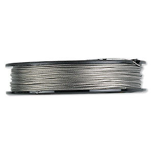 Beading wire, Tigertail™, nylon-coated stainless steel, clear, 7 strand, 0.024-inch diameter. Sold per 100-foot spool.