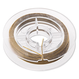 Beading wire, Tigertail™, nylon-coated stainless steel, gold, 7 strand, 0.018-inch diameter. Sold per 100-foot spool.