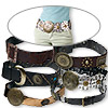 Belt mix, assorted neutral colors, vinyl and pewter (tin-based alloy), approx. 1-7/8 to 3-3/4 x 40 to 43 inches. Pkg of 6.