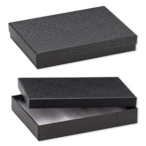 Box, paper, cotton-filled, black, 7-1/8 x 5-1/8 x 1-1/8 inch rectangle. Sold per pkg of 100.