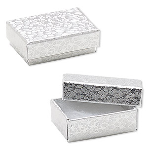 Box, paper, cotton-filled, silver, 1-7/8 x 1-1/4 x 5/8 inch rectangle. Sold per pkg of 100.