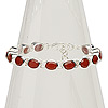Bracelet, carnelian (dyed / heated) and sterling silver, 10x8mm oval, 7 inches with toggle clasp. Sold individually.
