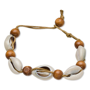 Bracelet, cowrie shell (coated) / stained wood / waxed cotton cord, 13mm wide, 5-1/2 inches with button clasp. Sold individually.