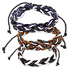 Bracelet mix, leather and waxed cotton cord, mixed colors, 12-16mm wide, adjustable from 7-10 inches with macramé knot closure. Sold per pkg of 3.