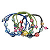 Bracelet mix, mother-of-pearl shell (assembled) / nylon / resin, mixed colors, 8-16mm round, adjustable up to 10 inches with macramé knot closure. Sold per pkg of 3.