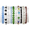 Bracelet mix, stretch, glass and cat's eye glass, mixed colors, 4mm-14x10mm mixed shape, 7 inches. Sold per pkg of 10.