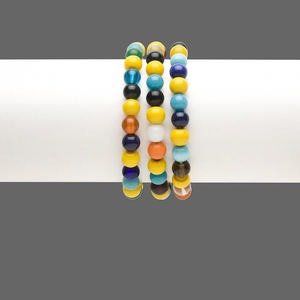 Bracelet mix, stretch, glass, multicolored, 7-9mm round, 7 inches. Sold per pkg of 3.