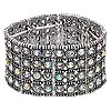 "Bracelet, stretch, Chinese glass rhinestone and antiqued silver-finished ""pewter"" (zinc-based alloy), clear and clear AB, 37.5mm wide with 4-row design, 7 inches. Sold individually."