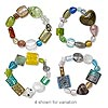 Bracelet, stretch, lampworked glass, multicolored, 10-30mm wide, 7-8 inches. Sold individually.