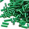 Bugle bead, Dyna-Mites™, glass, matte silver-lined emerald green, #3 square hole. Sold per pkg of 35 grams.