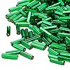 Bugle bead, Dyna-Mites™, glass, silver-lined emerald green, #3 square hole. Sold per pkg of 35 grams.