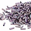 Bugle bead, Dyna-Mites™, glass, silver-lined rainbow purple, #3 square hole. Sold per 1/2 kilogram pkg.