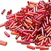 Bugle bead, Dyna-Mites™, glass, silver-lined rainbow ruby red, #3 square hole. Sold per pkg of 35 grams.