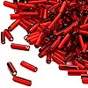 Bugle bead, Dyna-Mites™, glass, silver-lined red, #3 square hole. Sold per 1/2 kilogram pkg.