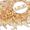 Bugle bead, Dyna-Mites™, glass, transparent rainbow gold, 6mm twisted. Sold per 50-gram pkg.