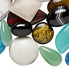 Cabochon mix, multi-gemstone (natural / dyed / manmade) and glass, mixed colors, 7mm-65x40mm mixed shape. Sold per 1/4 pound pkg, approximately 30-50 cabochons.