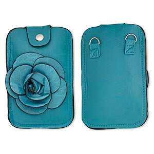 Cell phone pouch, polyurethane / cotton / silver-finished steel, turquoise blue and black, 5-3/4 x 3-3/4 inches with rose design and magnetic closure with 46-inch strap. Sold individually.