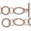 Chain, antiqued copper, 12mm smooth round / 16mm twisted round / 24x15mm wire-wrapped twisted oval, 36 inches with toggle clasp. Sold individually.