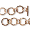Chain, antiqued copper, 8.5mm round and 15mm textured round, 7-1/2 inches with toggle clasp. Sold individually.