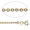 Chain, gold-plated steel, 2.4mm ball, 24 inches with springring clasp. Sold per pkg of 10.