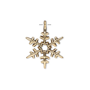 "Charm, antique gold-finished ""pewter"" (zinc-based alloy), 20x18mm single-sided snowflake. Sold per pkg of 20."