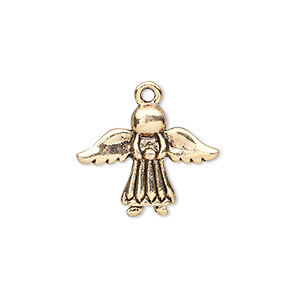 "Charm, antique gold-finished ""pewter"" (zinc-based alloy), 21x16mm single-sided angel. Sold per pkg of 10."