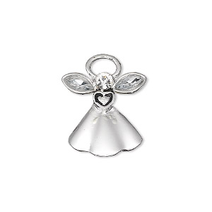 "Charm, antique silver-plated ""pewter"" (zinc-based alloy) and crystal clear, 18x17mm single-sided angel with crystal wings and face. Sold per pkg of 2."