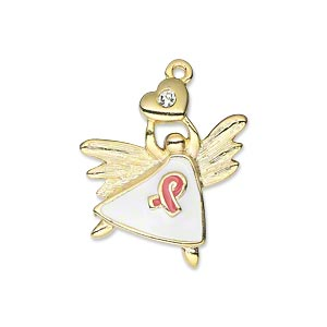 "Charm, glass / glass rhinestone / enamel / gold-finished ""pewter"" (zinc-based alloy), white / pink / clear, 23x22mm single-sided dancing angel holding heart with awareness ribbon. Sold individually."