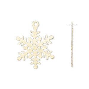 Charm, gold-finished brass, 22x22mm double-sided snowflake. Sold per pkg of 10.