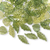 Charm mix, acrylic, light green / green / dark green, 15x15mm double-sided round leaf, 21x20mm double-sided oak leaf and 25x11mm double-sided long leaf. Sold per pkg of 1/8 pound, approximately 250 leaves.