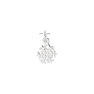 Charm, sterling silver, 9mm open snowflake. Sold per pkg of 4.
