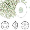 Chaton, Swarovski crystal rhinestone, Crystal Passions®, chrysolite opal, foil back, 2.4-2.5mm Xilion round (1028), PP18. Sold per pkg of 144 (1 gross).