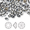 Chaton, Swarovski crystal rhinestone, Crystal Passions®, crystal blue shade, foil back, 5.27-5.44mm faceted Xirius round (1088), SS24. Sold per pkg of 144 (1 gross).